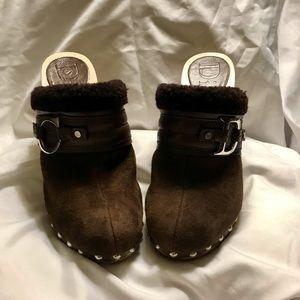 NWOT Dior Brown Fur Line Clog Mule Heel Size 7.5